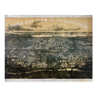 Bird's eye view of Philadelphia Pennsylvania 1868 Postcard