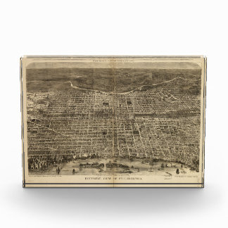 Bird's eye view of Philadelphia Pennsylvania 1872 Acrylic Award