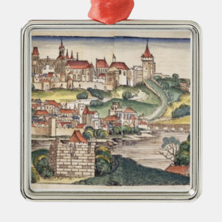 Bird's Eye View of Prague from the Nuremberg Chron Metal Ornament