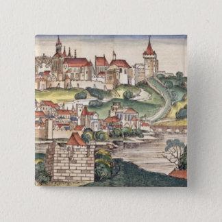 Bird's Eye View of Prague from the Nuremberg Chron Pinback Button