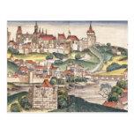 Bird's Eye View of Prague from the Nuremberg Chron Postcard