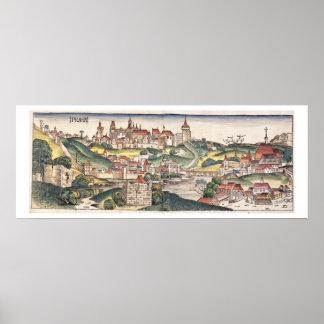 Bird's Eye View of Prague from the Nuremberg Chron Poster