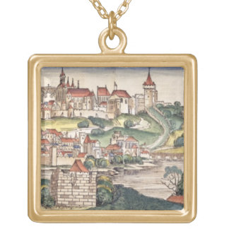 Bird's Eye View of Prague from the Nuremberg Chron Square Pendant Necklace