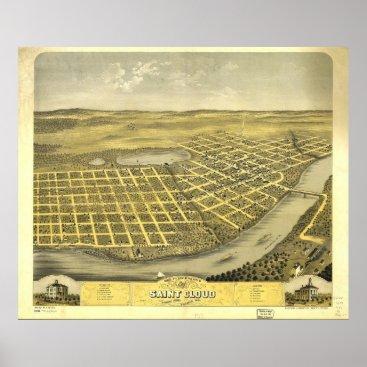 Art Themed Bird's Eye View of Saint acCloud, Minnesota (1869) Poster