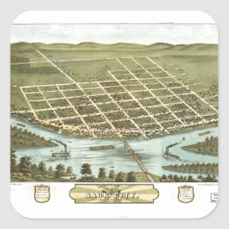 Bird's Eye View of Sauk City, Wisconsin (1870) Square Sticker