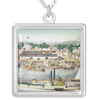 Bird's Eye View of Sixth Street Wharf Silver Plated Necklace