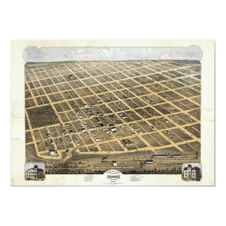 Bird's Eye View of the City of Denison Texas 1873 5x7 Paper Invitation Card