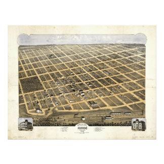 Bird's Eye View of the City of Denison Texas 1873 Letterhead