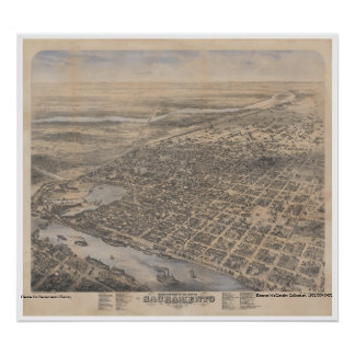 Birds Eye View of the City of Sacramento, 1870 Poster