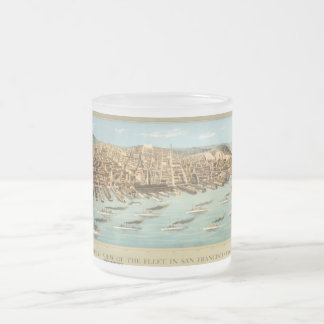 Bird's-eye View of the Fleet in San Francisco Bay, Frosted Glass Coffee Mug