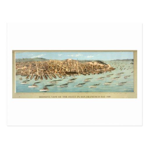 Bird's-eye View of the Fleet in San Francisco Bay, Postcard