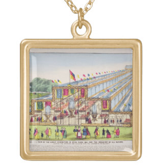 Bird's Eye View of the Great Exhibition in Hyde Pa Square Pendant Necklace