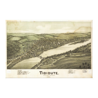 Bird's Eye View of Tidioute Pennsylvania (1896) Canvas Print
