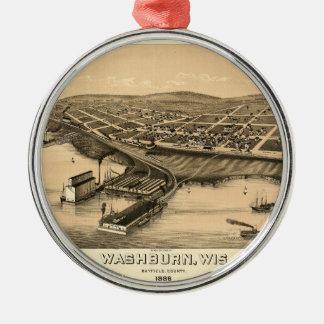 Birds eye view of Washburn, Wisconsin (1886) Metal Ornament