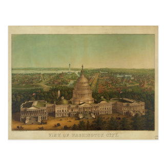 Bird's Eye View of Washington D.C. in 1869 Postcard