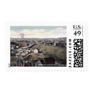 Bird's Eye View, Phillipsburg, New Jersey Vintage Postage Stamp