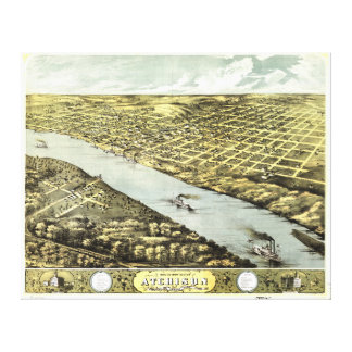Bird's Eye View the City of Atchison Kansas 1869 Canvas Print