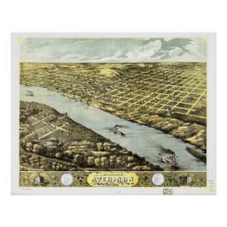 Bird's Eye View the City of Atchison Kansas 1869 Poster