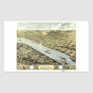 Bird's Eye View the City of Atchison Kansas 1869 Rectangular Sticker
