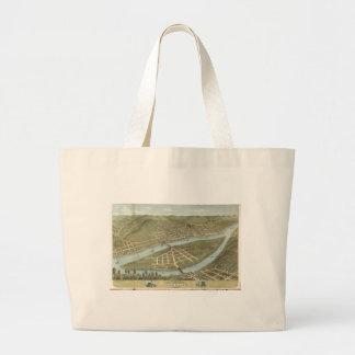 Bird's eye view Wheeling West Virginia (1870) Large Tote Bag