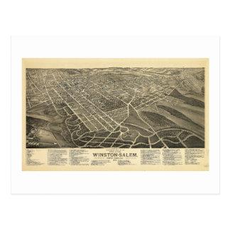 Bird's-eye view Winston-Salem North Carolina 1891 Postcard