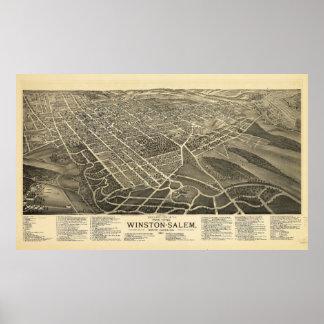 Bird's-eye view Winston-Salem North Carolina 1891 Poster