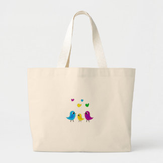 Birds family large tote bag