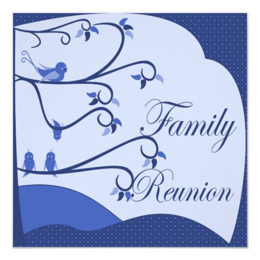 Birds Family Reunion Invitation (Blue)