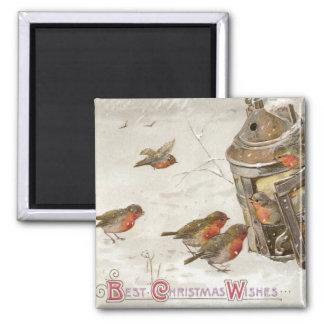 Birds Find Shelter in Lantern Vintage Christmas 2 Inch Square Magnet