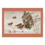 Birds Find Shelter in Lantern Vintage Christmas Card