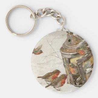 Birds Find Shelter in Lantern Vintage Christmas Keychain