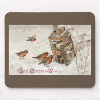 Birds Find Shelter in Lantern Vintage Christmas Mouse Pad