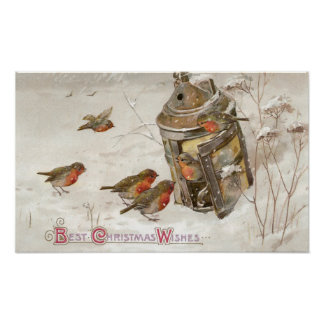 Birds Find Shelter in Lantern Vintage Christmas Poster