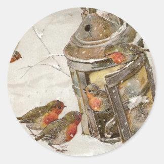 Birds Find Shelter in Lantern Vintage Christmas Round Stickers