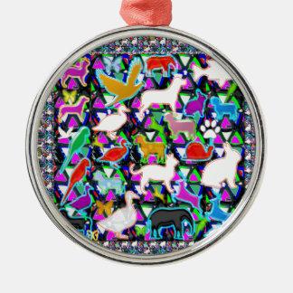 Birds Fish Animals Pet Zoo Kids Kids+room NVN706 F Round Metal Christmas Ornament