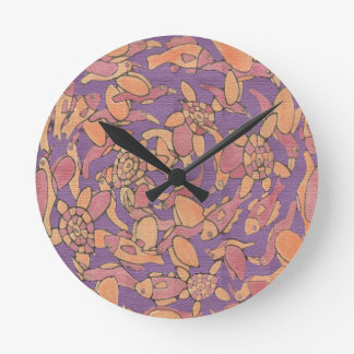 birds, fishes and turtles round clock