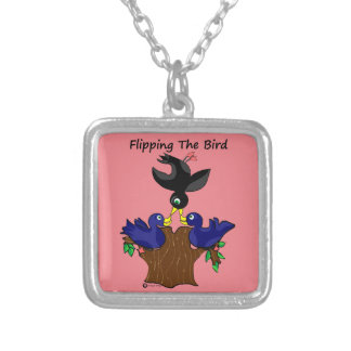 Birds Flipping The Bird Silver Plated Necklace