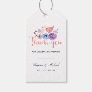 Birds Floral Wedding Favor Thank You Gift Tag