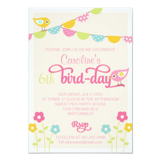 Birds Flowers and Banners Girl Birthday Party Card
