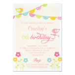 Birds Flowers and Banners Girl Birthday Party Personalized Invites