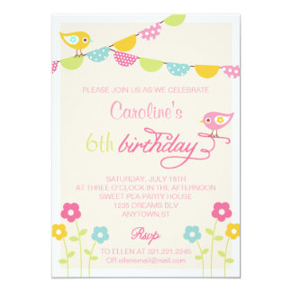 Birds Flowers and Banners Girl Birthday Party 5x7 Paper Invitation Card