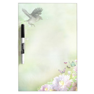 Birds flowers and butterflies Dry-Erase board