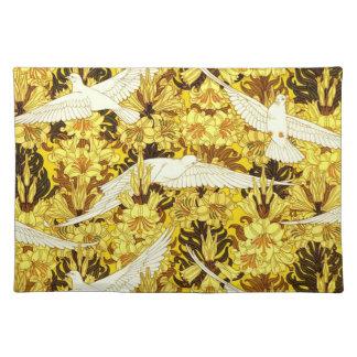 Birds Flowers Art Nouveau Design Elements Fabric Place Mat