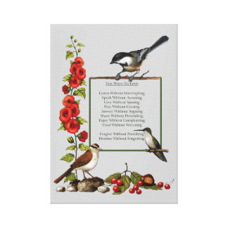 Birds, Flowers: Art: Ten Ways To Love: Inspiration Canvas Print