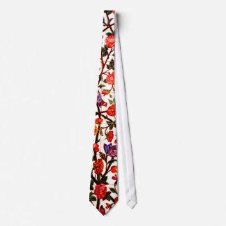Birds & flowers panel neck tie