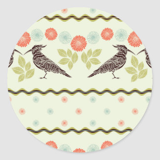 Birds & Flowers Patter Classic Round Sticker
