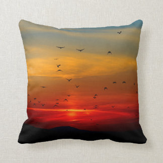 Birds Fly Into Beautiful Sunset Pillow