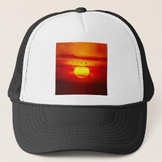 Birds Fly On Sky With Sunset Savanna Trucker Hat