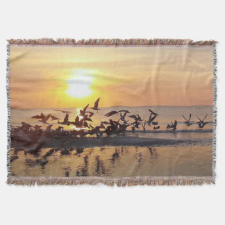 Birds Flying at Sunset Beach Photography Throw Blanket