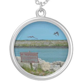 birds flying florida no tresspassing sign round pendant necklace